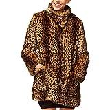 Partiss Damenmode Winter Pelzmantel Leopard Jacke Schneeanzug Trenchcoat,Chinese S