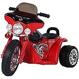 HOMCOM Moto Véhicule Electrique pour Enfant 6V 2.5km/h Musique Lumière 80 x 43 x 55cm Rouge