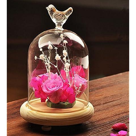 siyglass cristal campana cúpula terrario recipiente pantalla Miniature Bell tarro con bandeja de madera