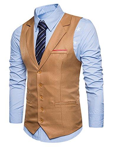 YCHENG Herren Business Stilvoll Anzugweste Weste Slim Fit mit Revers Beige X-Large