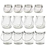 BODA Creative Kerzenglas Windlicht zum Aufhängen Mix-Set, 12 Stück H 6-10 cm Glaslaterne Windlichtlaterne