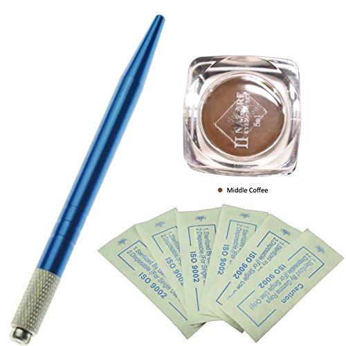 Kit de sourcils Durable Micro Blading Trousse/bleue manuelle Micro de Blading tätowierungs Crayon avec 10pcs Sourcil Micro de Blading Aiguilles et un flacon de micro Blading-Pigment