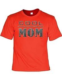 T-Shirt als Geschenk für die Mutter - Cool Mom - Mit Gratis Urkunde aks Geschenk zum Muttertag - Farbe: rot