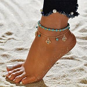 CanVivi Fußkettchen Damen Gold Doppel Türkis Blumenmuster Fuß Kett Strand