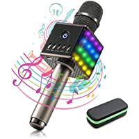 Micrófono Karaoke Bluetooth – Maxesla Micrófono Inalámbrico Portátil Altavoces Incorporados con LED Luces de Colores, TF Tarjeta Música Playing Singing, USB Recargable, Inicio KTV para iPad