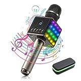 Bluetooth Microphone Karaoké - Maxesla Microphone Sans Fil Haut-Parleur Bluetooth Portable, Carte TF Musique Jouer, Lumière LED Dynamique, Mini KTV Home Karaoke pour Android/IOS, iPad, Smartphones