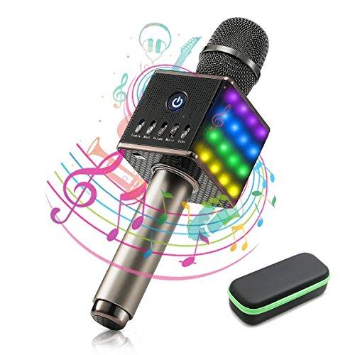 Karaoke Mikrofon Bluetooth - Maxesla Tragbares Drahtloses Mikrofon Kinder, Buntem LED-Licht, TF Karte Musik Spielen Singen, Bluetooth-Lautsprecher für Sprach- und Gesangsaufnahmen, Android/IOS usw (Song-aufnahme-mikrofon)