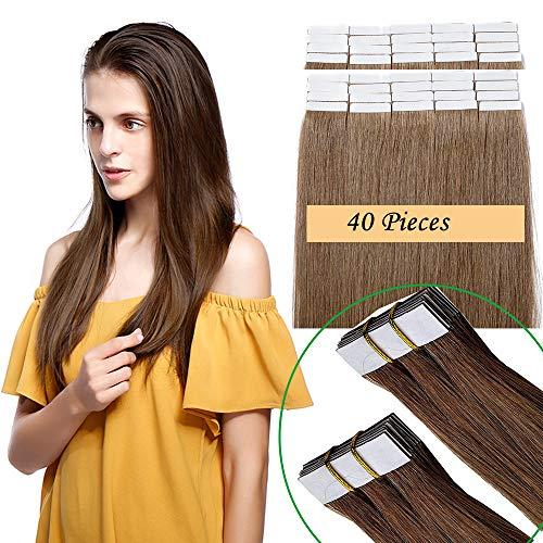 Extension capelli veri biadesivo 40 fasce 100g tape extension adesive 45cm 100% remy human hair 2.5g/fascia (#6 marrone chiaro 18