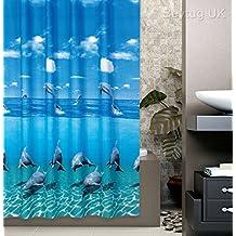 Hermoso delfín cortina de ducha 100% poliéster impermeable incluye ganchos, poliéster, Multi Colour Shower Curtain, 180CM x 200CM