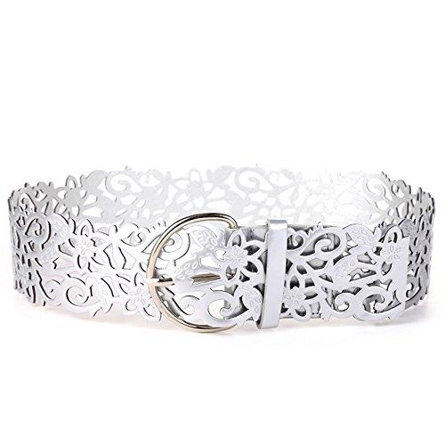 Emorias 1 Pcs Cinturón Ancho de la Mujer Patrón Noble Hueco Cinturones Piel Niña Personalidad Ropa Accesorios - Silver