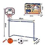 YAKOK Fussballtor Kinder, 87 * 88 * 45CM Tragbar Mini Basketballkorb mit Ständer und Fußballtor Kinder mit Ball und Pumpe für Kinder (Rot, Blau)