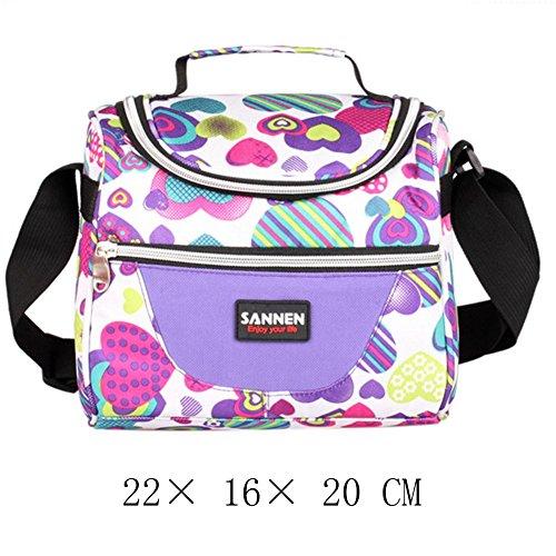 Saiting borsetta porta pranzo termica pranzo borse borsa alimenti lunchbox per scuola e ufficio per uomini e donne con tracolla, 7 l (viola)