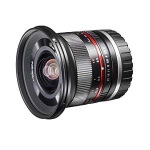 Walimex pro 12mm f1:2,0 Festbrennweite manueller Fokus Weitwinkelobjektiv für Sony E Mount, Kamera Objektiv lichtstark für Systemkamera für A5000 A5100 A6000 A6300 A6500 Serie, Nex, schwarz
