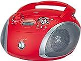 Grundig RCD 1445 Radio (USB 2.0) mit CD/-MP3/-WMA Wiedergabe rot/silber