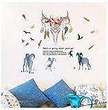 QTXINGMU Cartoon Schafe Feder Wandaufkleber Schlafzimmer Wohnzimmer Studie Hintergrund Dekoration Abnehmbaren Aufkleber