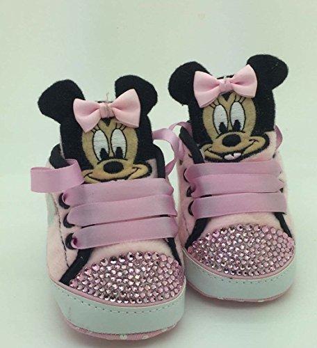 Individuell Baby Mädchen Minnie Maus Kinderbett Kinderwagen Romany Bling Kristall Strass Schuhe. Gr. 3/6Monate. First (Minnie Schuhe Maus)