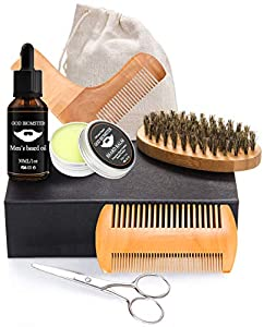 OKEEY Beard Grooming Kit, 8 PCs Men Beard Care and Moustache Care Gift Set, Beard Trimming Kit to Help Men Rapid Beard Care, One of This Years Best Gifts for Men Who Love to Care for Their Beards