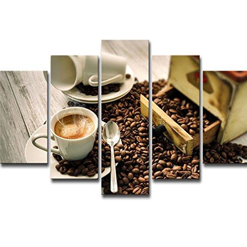 DSADDSD Impresión de Lienzo, Pintura de café Decoración, Café y café Bean Wall Art Painting, Impresión de Lienzo, Foto - 5 Piezas - Sin Marco, Imagen e Impresión Sala de Estar, (Tamaño : S)
