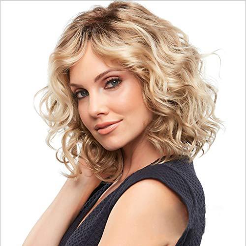 auen, natürliche flaumige Mode Brown Gradient Gold kurze lockige Haare Damen hohe Qualität Perücke ()