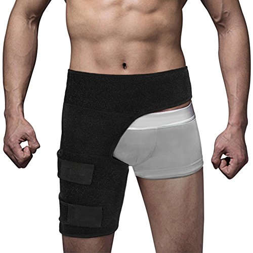 Tiefschutz Unterstützung und Hip Flexor Wrap Oberschenkel Kompression Gürtel, Leistenwickel Klammer Kompressionsbandage Verstellbare Größe Neopren, Hip Ischias Verletzung Recovery und Schmerzlinderung -