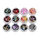 Coolster Acryl 3D Glitter Sequins Aufkleber Nail Decorator Nail Art Tip DIY Dekoration Set (Multicolor 1)
