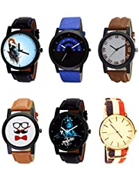 NIKOLA Brand New Analogue Mahadev Beard Style Black Blue And Brown Color 6 Watch Combo (B22-B47-B39-B53-B23-B50...
