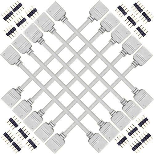 Kabenjee 10x 4 polig RGB Band Licht 30cm Verlängerungskabel,RGB LED Stripe Verbinder Verlängerung Anschluss Verteiler Kabel für 5050 RGB LED Bänder,LED Strip Eckverbinder,für OSRAM RGB LED-Streifen