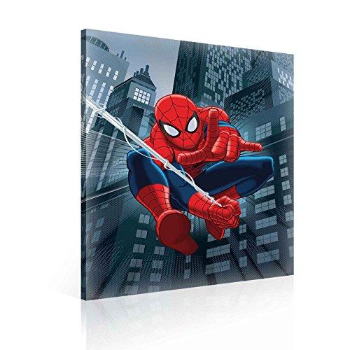Marvel Spiderman Impression sur toile-Impression photo-O6-80cm x 60cm-Premium 260g/m² sur toile, à la main, solide Cadre en panneau MDF-2.6cm d'épaisseur-intégrée à suspendre Crochet-Marvel Spiderman Collection-(Ppd27o6)
