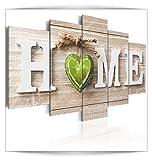 decomonkey Bilder Home 200x100 cm 5 Teilig Leinwandbilder Bild auf Leinwand Vlies Wandbild Kunstdruck Wanddeko Wand Wohnzimmer Wanddekoration Deko Haus Herz braun grün