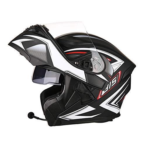 SLSMD Casco Integrale Moto Bluetooth, Casco da Motocross per Adulti antiappannante modulare Flip Double Parasole, Cuffia con Microfono per Altoparlante Incorporato induzione Automatica,F,L