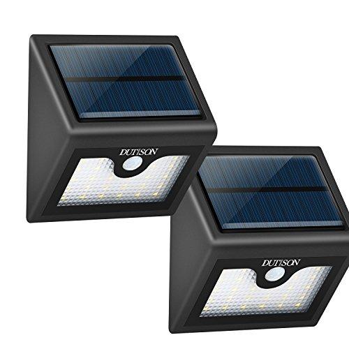 DUTISON Solarleuchten 26 Helle LED IP65 Wasserfest Solarlampe mit Bewegungssensor Wandleuchte für Garten, Patio, Wege (2 PCS)