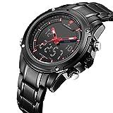 Analog Digital Herren-Sportuhren Dual Time Date and Day Wasserdichte Edelstahl-Armbanduhr in Schwarz