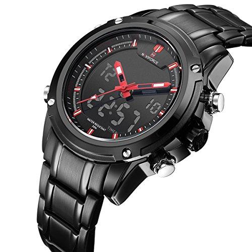 Analoge und digitale Herren-Sport-Armbanduhr, zweifache Zeitanzeige, Datum und Tag, wasserdicht, Edelstahl, schwarz