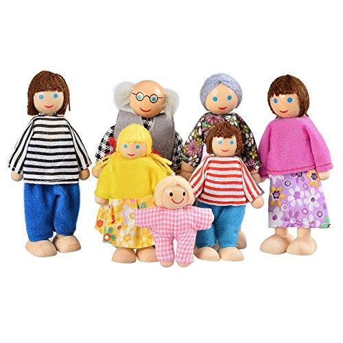 Yoliki Puppenfamilie Puppenhaus Familie 7 Puppen Kinder Dolls Spielzeug