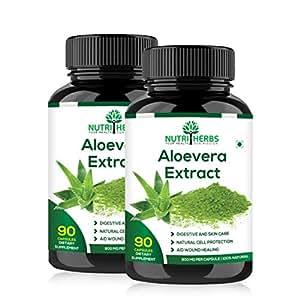 Nutriherbs Aleovera Extract 800 mg 90 capsules 100% Natural & Organic. (Pack of 2)