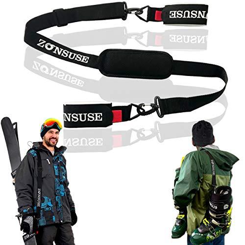 ZONSUSE Ski Shoulderstrap, Tragegurt für Skifahren und Stöcke, Verstellbarer Ski Shoulder Strap, skibänder mit Karabinerhaken und Gepolstertem Halterschutz, Skiausrüstung