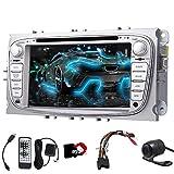 EinCar Wince 7-Zoll-Doppel-DIN-Autoradio f¨¹r Ford Focus Mondeo Support-DVD GPS-Navigation Auto-Radio Bluetooth Lenkrad-Steuerung USB SD Subwoofer EQ AUX RCA + R¨¹ckseiten-Kamera