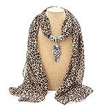 JAGETRADE Donne di Marca Lunga Chiffon Leopard Lady Sciarpa Collana Pendente Gioielli Sciarpa Gufo caffè 161 cm (63.38in) x50cm (19