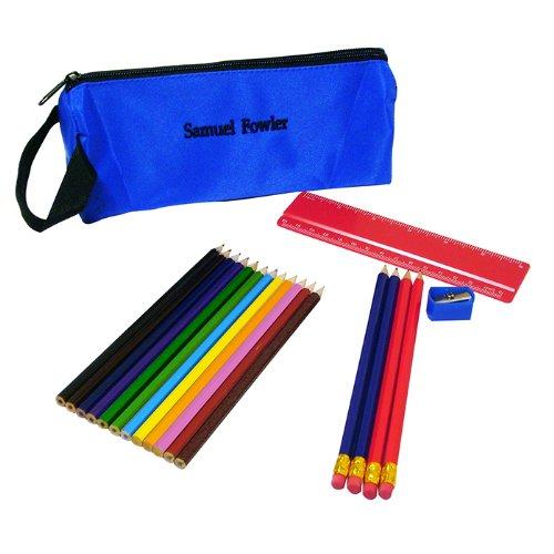 Arrière à l'école. – personnalisée Crayon Bleu brodé personnalisé Étui complet de contenu – Idéal pour les enfants et le nouveau terme.