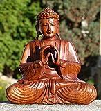 Super schöner 20 cm Doppelhand BUDDHA Meditation HOLZ BUDDA Feng Shui BMDH20