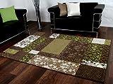 Passion Designer Teppich Braun Grün Beige Patchwork Karo in 4 Größen