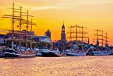 Exklusives fertig gerahmtes Hamburger Leinwandbild: Segelschiffe im Hafen Hamburg vor den St. Pauli Landungsbrücken - Fotos/Bilder / Souvenirs(30 x 20 cm)