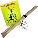v-goodies und weitere Handstäbe für Devilstick, Flowerstick / Set inkl. Trick-Fibel, Stripe, Sticker