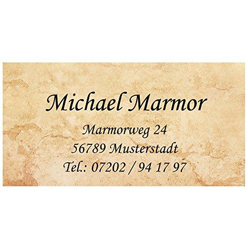 VisitenkartenMarmor mit Ihrer kompletten Adresse, 54 Stück, ca. 88 x 45 mm