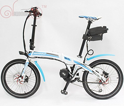 Free Shipping 48V 750W Bafang Mid-Drive Motor MOSSO 20-F1 Mini Foldable +12AH Li-ion Ebike Battery White/Blue or Black/Red Color 750w Motor