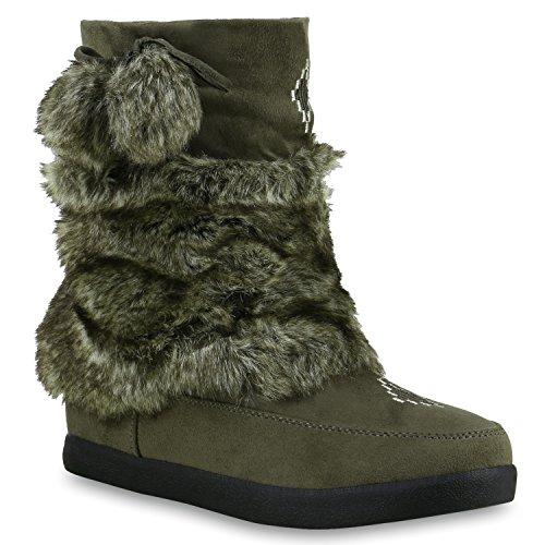 Stiefelparadies Warm Gefütterte Damen Stiefeletten Kunstfell Mukluk Winterboots Schuhe 127982 Dunkelgrün 37 | Flandell (Mukluk Damen)