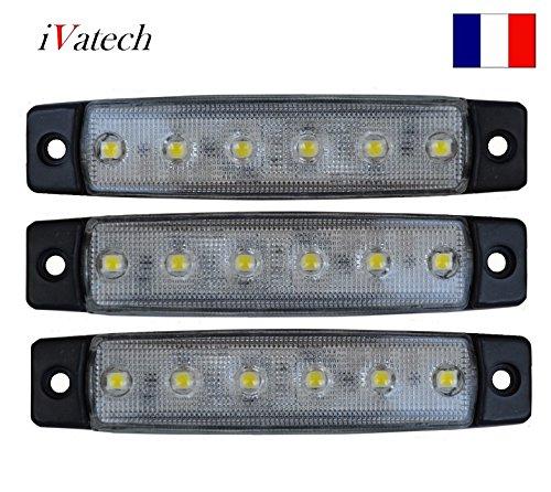 IVATECH 3 X 24V Blanc SMD 6 LED Feux DE GABARIT pour Isuzu Citroen Peugeot Mercedes DAF
