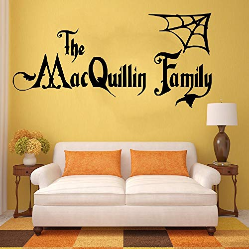 57 * 120cm Personalisierte Halloween Family Name Addams Family Vinyl Wall Art Sticker Decal Mural Home Wall Decor Wohnzimmer Dekor