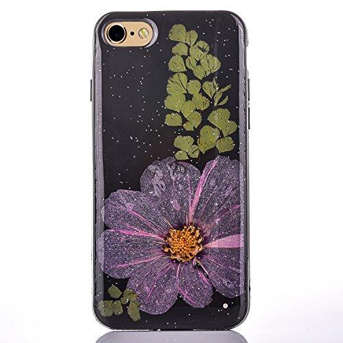 Cassa in Molle Rubber per Apple iPhone 6/6s 4.7(NON iPhone 6Plus/6sPlus 5.5), CLTPY Black Handmade Naturale Flower Essiccate Fiore Case Protettiva Ultra Sottile Morbido e Flessibile in TPU Silicone  Fiore 2