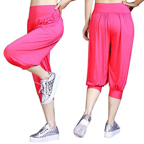 Sidiou Group Nuovi pantaloni di Modal ultra-morbido per donne, Harem pantaloni cascanti comodi di 3/4 lunghezza della gamba, Yoga pantaloni. Rosso